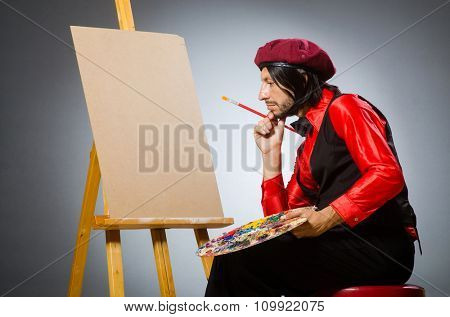 Man artist in art concept