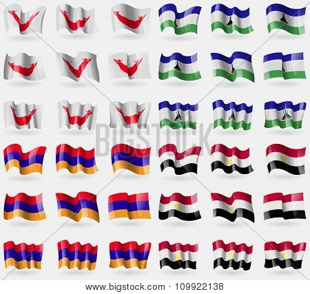 Easter Rapa Nui, Lesothe, Armenia, Egypt. Set Of 36 Flags Of The Countries Of The World.