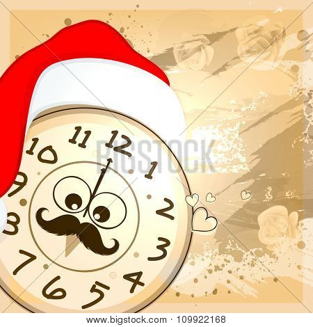 Creative clock with Santa cap, showing time for New Year celebration on abstract background.