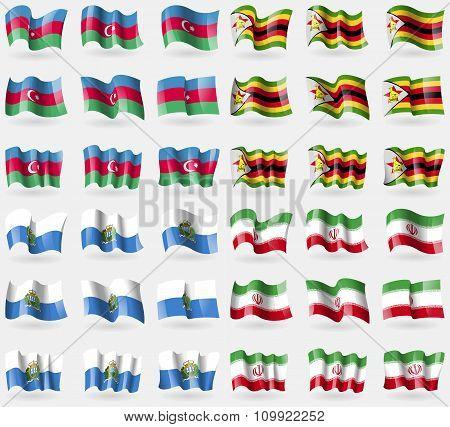 Azerbaijan, Zimbabwe, San Marino, Iran. Set Of 36 Flags Of The Countries Of The World.
