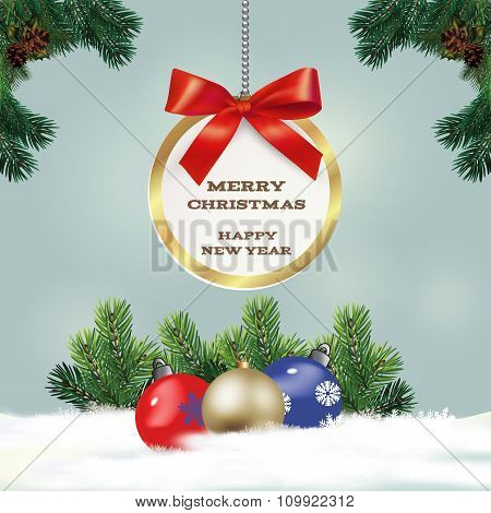 Congratulatory Christmas Background With Fir Branches. Vector Illustration