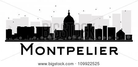 Montpelier City skyline black and white silhouette. Vector illustration. Simple flat concept for tourism presentation, banner, placard or web site. Business travel concept. Cityscape with landmarks