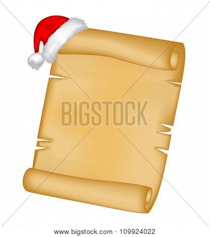 Christmas Paper Scroll Card With Santa Cap,hat. Vector Illustration Isolated On White Background.