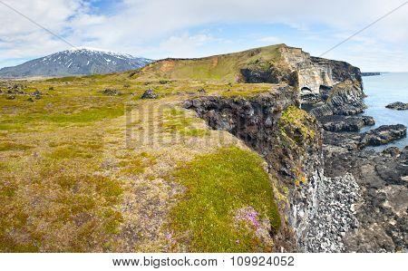 Basalt formations at Londrangar. Snaefellsness peninsula, Icelnad