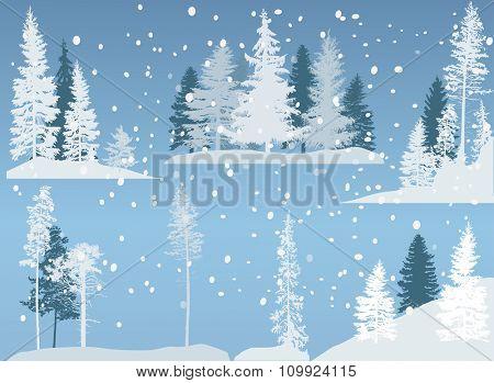 illustration with trees set isolated on blue background