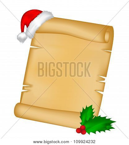 Christmas Paper Scroll Card With Santa Cap,hat And Holly Berry. Vector Illustration Isolated On Whit