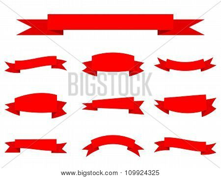 Set Of Red Ribbon Banners