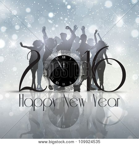 Silhouettes of people dancing on a New Year background