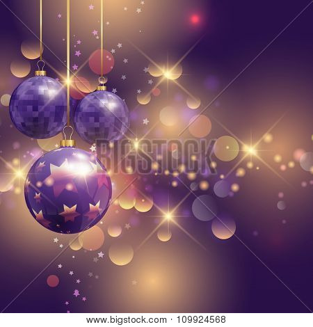 Christmas baubles on a bokeh lights background