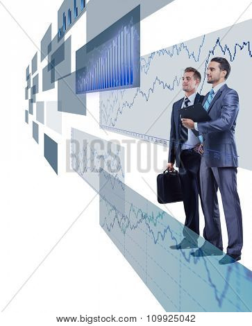 two businessmen looking at shining chart