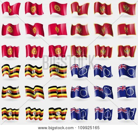 Kyrgyzstan, Montenegro, Uganda, Cook Islands. Set Of 36 Flags Of The Countries Of The World.