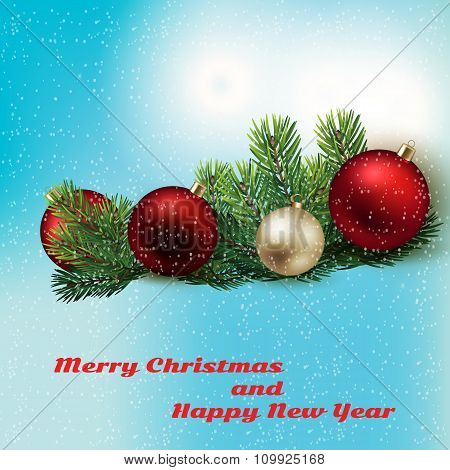 Holyday Background With Christmas Toys And Spruce Branches
