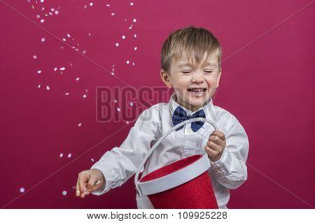 Cheerful Kid Throwing Confetti