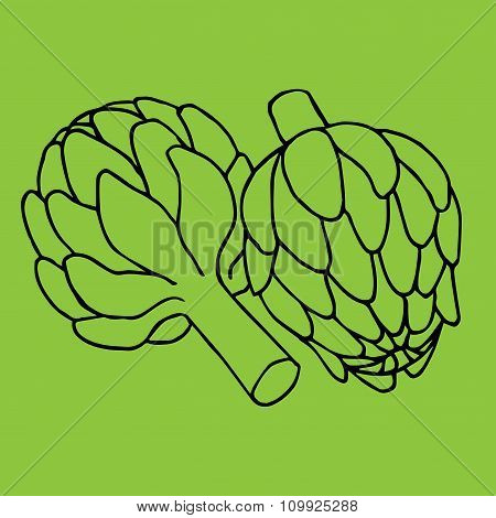 doodle illustration of artichoke