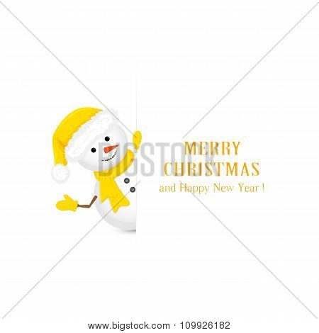 Snowman In Yellow Hat And Christmas Greetings