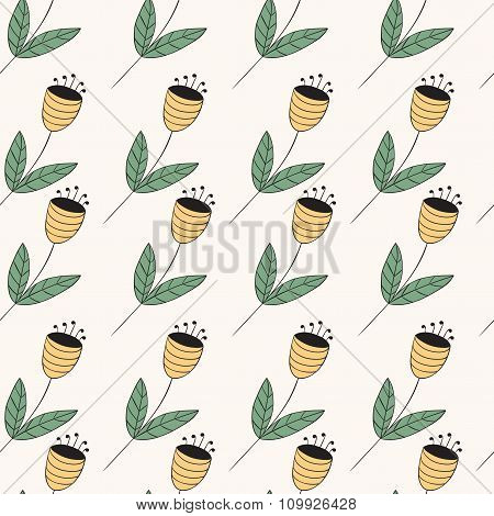 Bellflowers Seamless Pattern. Vintage Background. Yellow Flowers. Floral Texture. Light Backdrop.