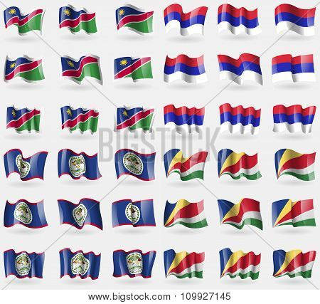 Namibia, Republika Srpska, Belize, Seychelles. Set Of 36 Flags Of The Countries Of The World.