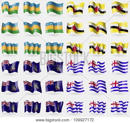Karakalpakstan, Brunei, Georgia And Sandwich, Ajaria. Set Of 36 Flags Of The Countries Of The