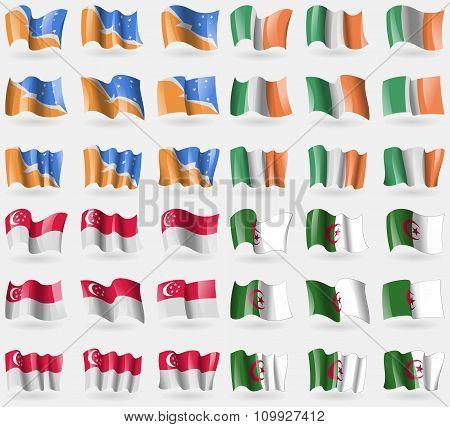 Tierra Del Fuego Province, Ireland, Singapore, Algeria. Set Of 36 Flags Of The Countries Of The