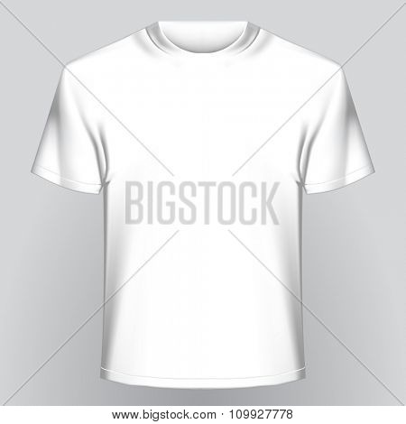 White empty t-shirt on gray background. Easy template to insert any of your image. Vector illustration
