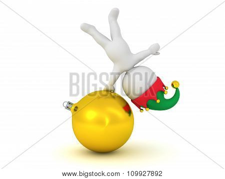 3D Character With Elf Hat Standing On A Globe