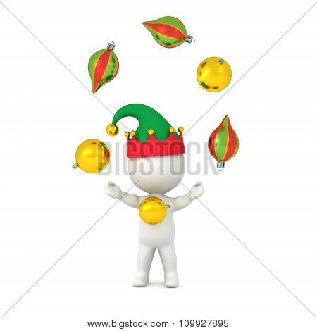3D Character With Elf Hat Juggling Decorative Globes