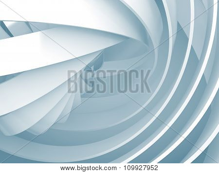 Abstract Background With Light Blue 3D Spiral Structures