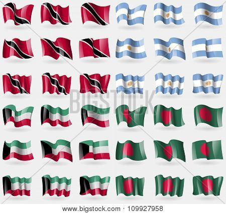Trinidad And Tobago, Argentina, Kuwait, Bangladesh. Set Of 36 Flags Of The Countries Of The World.