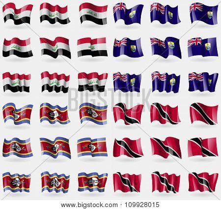 Iraq, Saint Helena, Swaziland, Trinidad And Tobago. Set Of 36 Flags Of The Countries Of The World.