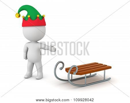 3D Character With Elf Hat Showing Toy Sled