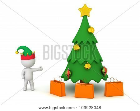 3D Character With Elf Hat Showing Cartoonish Christmas Tree And Gift Bags
