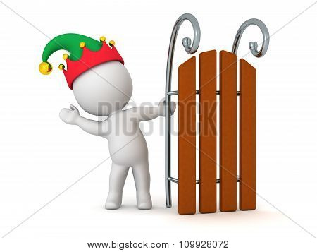 3D Character With Elf Hat Waving From Behind Toy Sled
