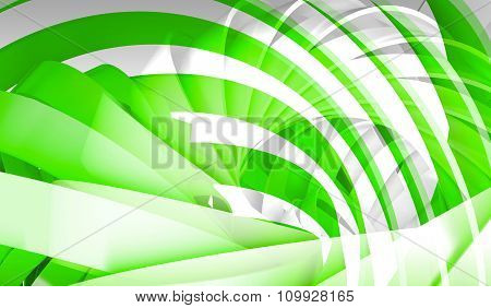 Abstract Digital Background With Green 3D Spiral