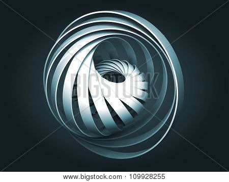 Abstract Dark Blue Digital Object Made Of 3D Round Spiral