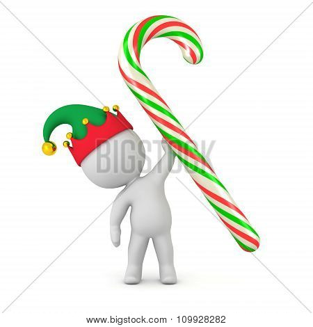 3D Character With Elf Hat Holding Large Candy Cane