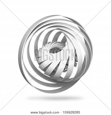 Abstract Digital Object, Round 3D Spiral Structures Isolated