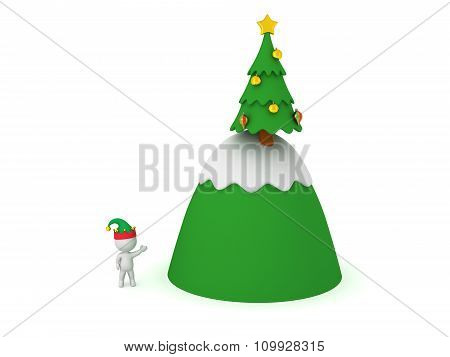 3D Character With Elf Hat Showing Mountain And Christmas Tree