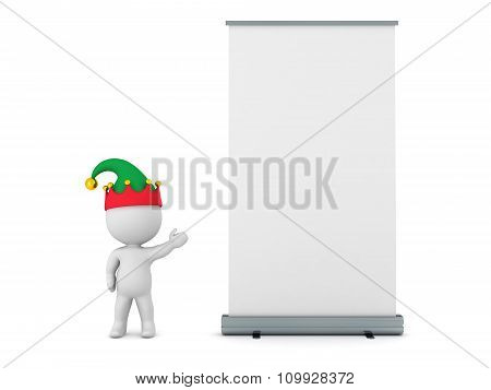 3D Character With Elf Hat Showing Large Rollup Poster