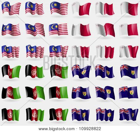 Malaysia, Malta, Afghanistan, Turks And Caicos. Set Of 36 Flags Of The Countries Of The World.