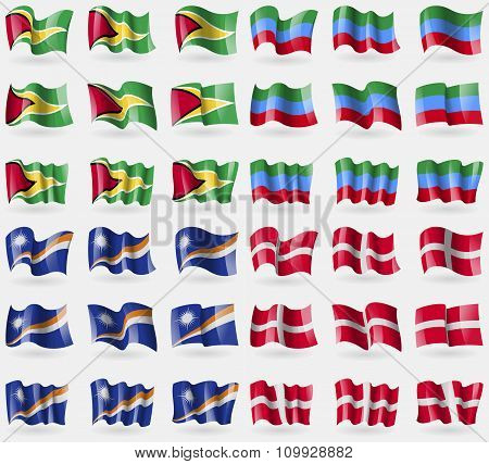 Guyana, Dagestan, Marshall Islands, Military Order Malta. Set Of 36 Flags Of The Countries Of The