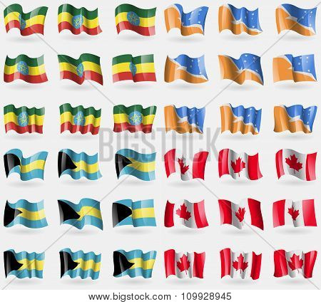 Ethiopia, Tierra Del Fuego Province, Bahamas, Canada. Set Of 36 Flags Of The Countries Of The