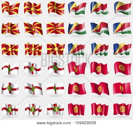 Macedonia, Seychelles, Alderney, Kyrgyzstan. Set Of 36 Flags Of The Countries Of The World.