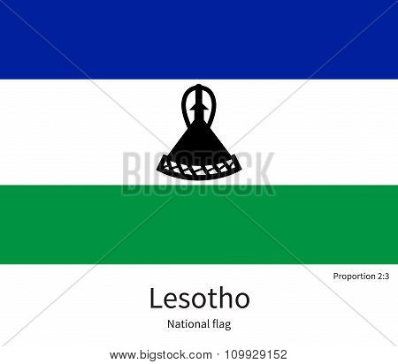 National flag of Lesotho with correct proportions, element, colors