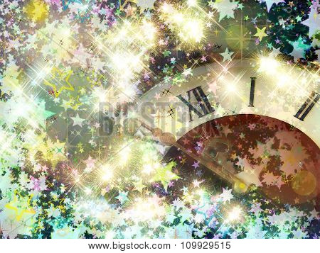 Eve Of New Year.clock Face And Glowing Shining Stars.
