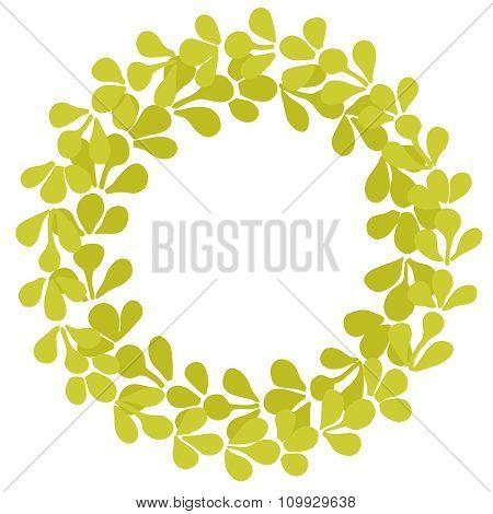 Laurel wreath vector frame on white background