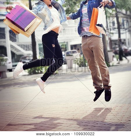 Shopping Togetherness Couple Relationship Commerce Concept