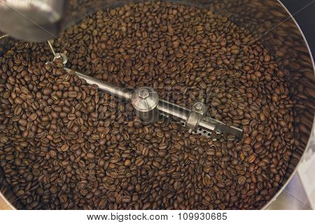 Coffee Beans During The Roasting Process Inside The Hopper Drum Type Roaster