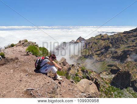 The Tired Girl Has A Rest, Having Ascended To One Of Tops Of Madeira And Being Above Clouds