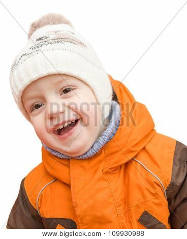 Portrait Of The Laughing Kid In A Cap And A Jacket, Isolated On White