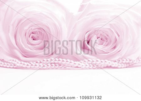 Beautiful Roses With Pearls Toned As Wedding Background. Soft Focus.